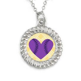 Braided Circle Necklace Baseball Heart