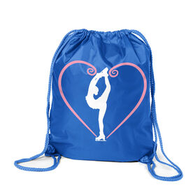Figure Skating Sport Pack Cinch Sack - Heart Skater