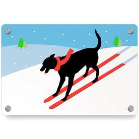 Skiing Metal Wall Art Panel - Vintage Dog