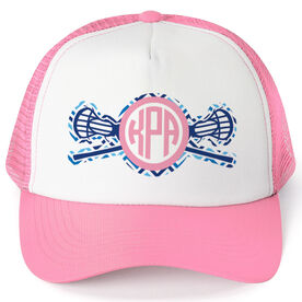 Girls Lacrosse Trucker Hat - Monogram Chevron
