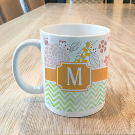 Chevron Watercolor with Floral Pattern Personalized Coffee Mug