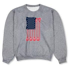 Guys Lacrosse Crew Neck Sweatshirt - American Flag