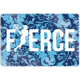 "Girls Lacrosse 18"" X 12"" Aluminum Room Sign Fierce"