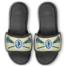 Girls Lacrosse Repwell® Slide Sandals - Personalized Monogram Sticks with Quatrefoil Pattern