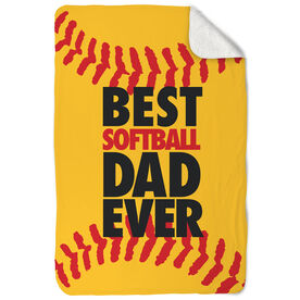Softball Sherpa Fleece Blanket Best Dad Ever