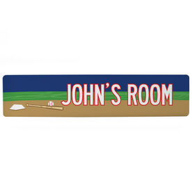 "Baseball Aluminum Room Sign - Personalized Baseball Room (4""x18"")"