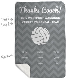 Volleyball Sherpa Fleece Blanket - Personalized Thanks Coach Chevron