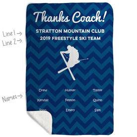 Skiing Sherpa Fleece Blanket - Personalized Thanks Coach Chevron