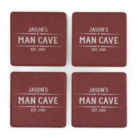 Personalized Stone Coasters Set of Four - Man Cave