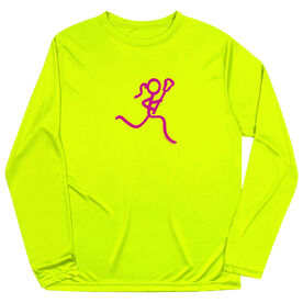 Girls Lacrosse Long Sleeve Performance Tee - Neon Lax Girl