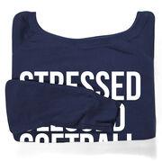 Softball Fleece Wide Neck Sweatshirt - Stressed Blessed Softball Obsessed