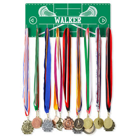 Guys Lacrosse Hooked on Medals Hanger - Personalized Field