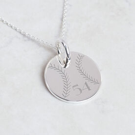 Sterling Silver 20mm Circle Necklace Softball Number