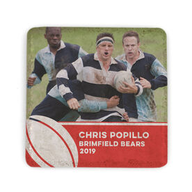 Rugby Stone Coaster - Team Photo with Ball