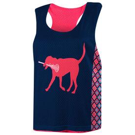 Girls Lacrosse Racerback Pinnie - LuLa the Lacrosse Dog