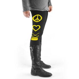 Girls Hockey High Print Leggings Peace Love Hockey