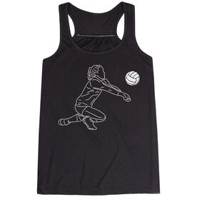 Volleyball Flowy Racerback Tank Top - Volleyball Girl Player Sketch