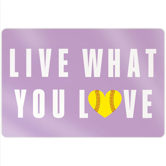 """Softball 18"""" X 12"""" Aluminum Room Sign - Live What You Love"""
