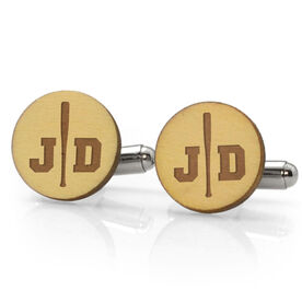 Baseball Engraved Wood Cufflinks Split Initials