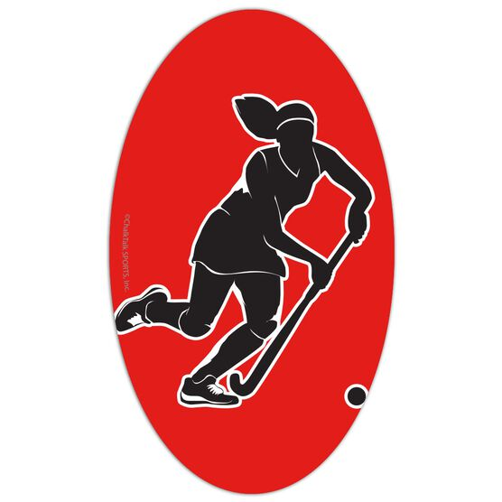 Field Hockey Oval Car Magnet Player