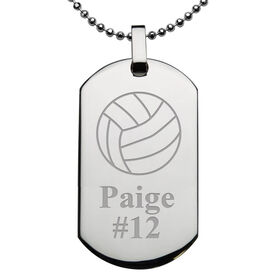 Volleyball Engraved Stainless Steel Dog Tag Necklace