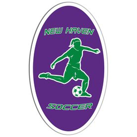 Soccer Oval Car Magnet Personalized Girl