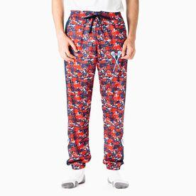 Guys Lacrosse Lounge Pants - Patriotic Digital Camo