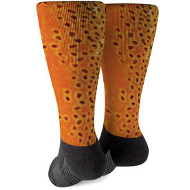 Fly Fishing Printed Mid-Calf Socks - Brown Trout