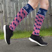 Girls Lacrosse Printed Knee-High Socks - Lax Elephant