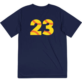 Softball Short Sleeve Performance Tee - Number Stitches