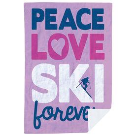 Skiing Premium Blanket - Peace Love Ski Forever