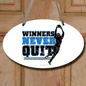 Football Oval Sign Winners Never Quit