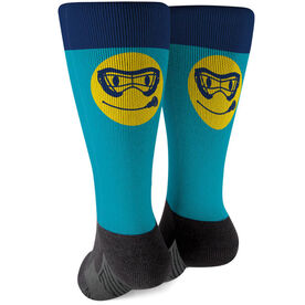 Girls Lacrosse Printed Mid-Calf Socks - Smiley Face