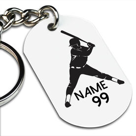 Softball Printed Dog Tag Keychain Personalized Softball Batter