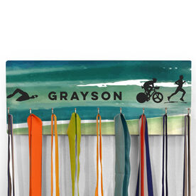 Hooked On Medals Hanger Personalized Male Triathletes Watercolor Background