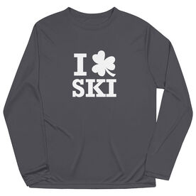 Skiing Long Sleeve Performance Tee - Skiing Tshirt Short Sleeve I Shamrock Ski