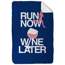 Running Sherpa Fleece Blanket - Run Now Wine Later (Bold)