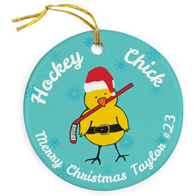 Hockey Porcelain Ornament Chick With Santa Hat