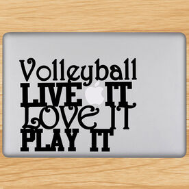 Volleyball Removable Laptop Decal Volleyball Live It Love It Play It