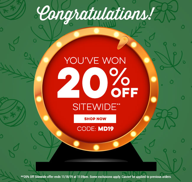 Congratulations! You've won 20% off sitewide. Use code MD19 at checkout.