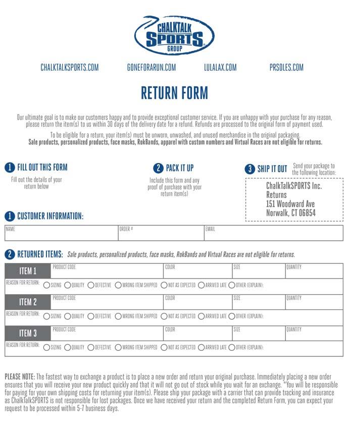 Return + Exchange Form