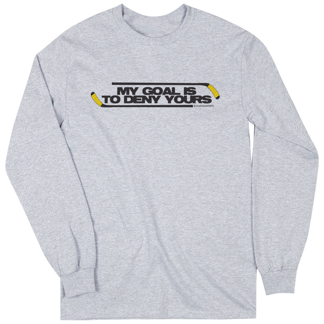 Hockey Tshirt Long Sleeve My Goal Is To Deny Yours (Black/Yellow)