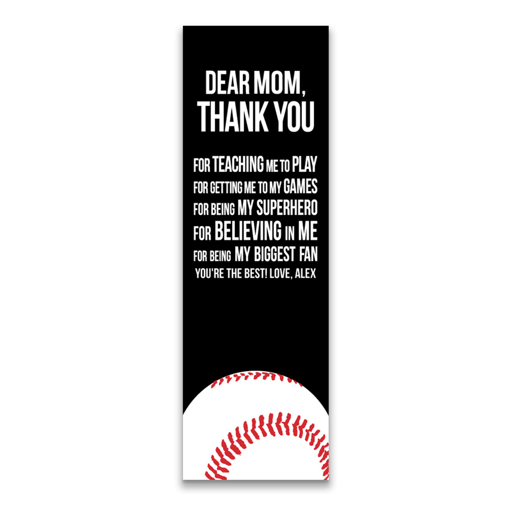 "Baseball 12.5"" X 4"" Removable Wall Tile - Dear Mom (Vertical) - Personalization Image"