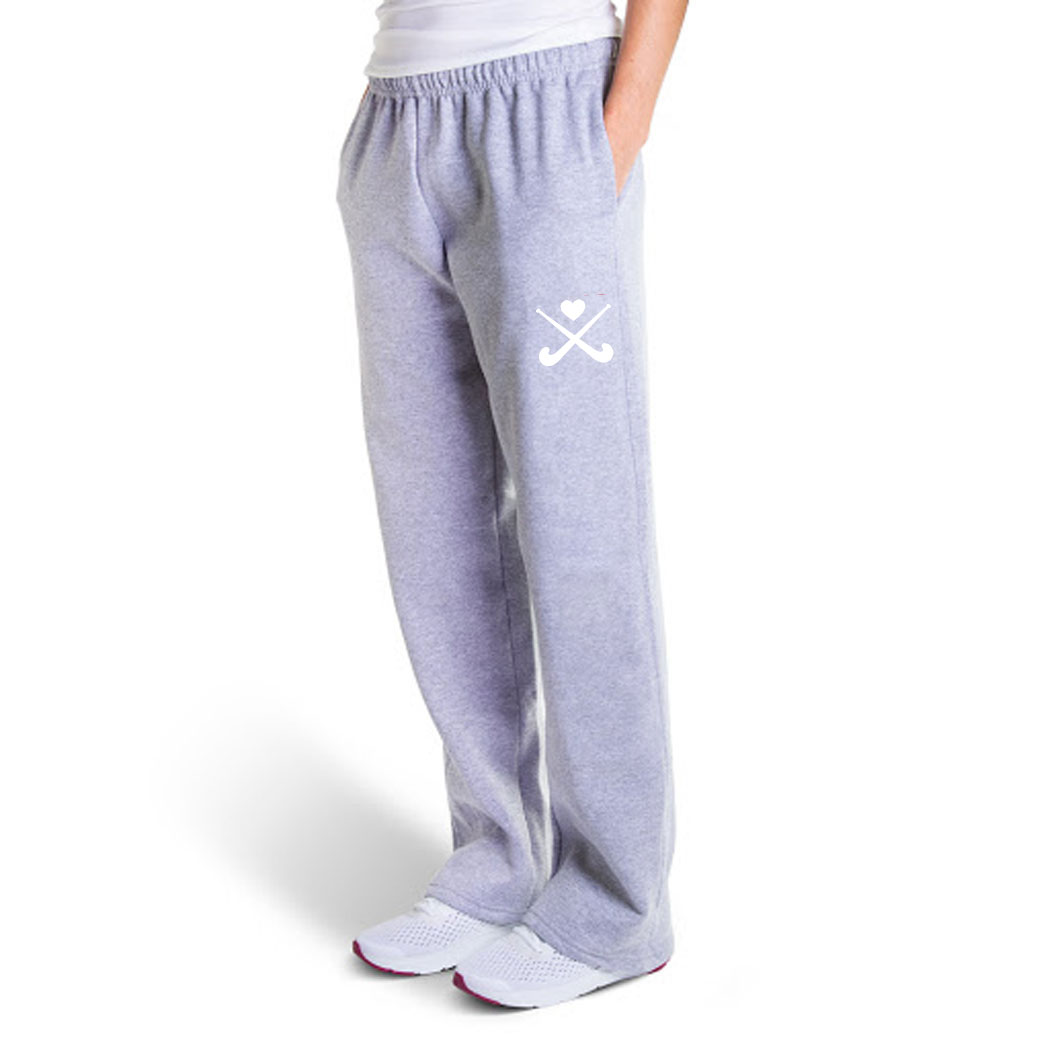 Field Hockey Fleece Sweatpants - Crossed Sticks With Heart