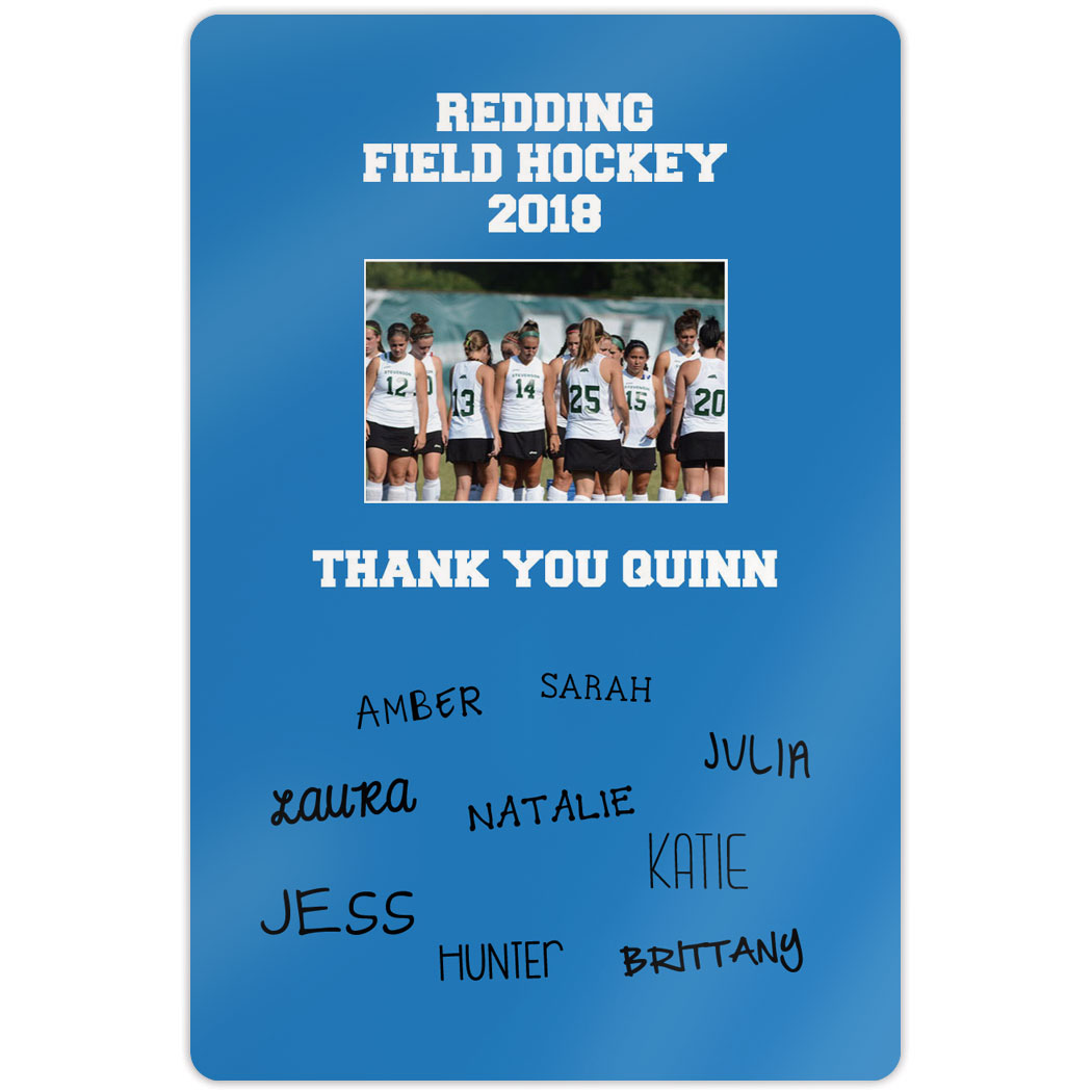 "Field Hockey Aluminum Room Sign (18""x12"") Personalized Field Hockey Photo with Team Signatures"