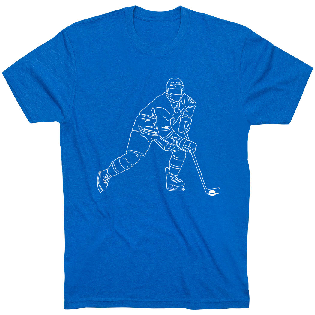 Hockey Short Sleeve T-Shirt - Hockey Player Sketch