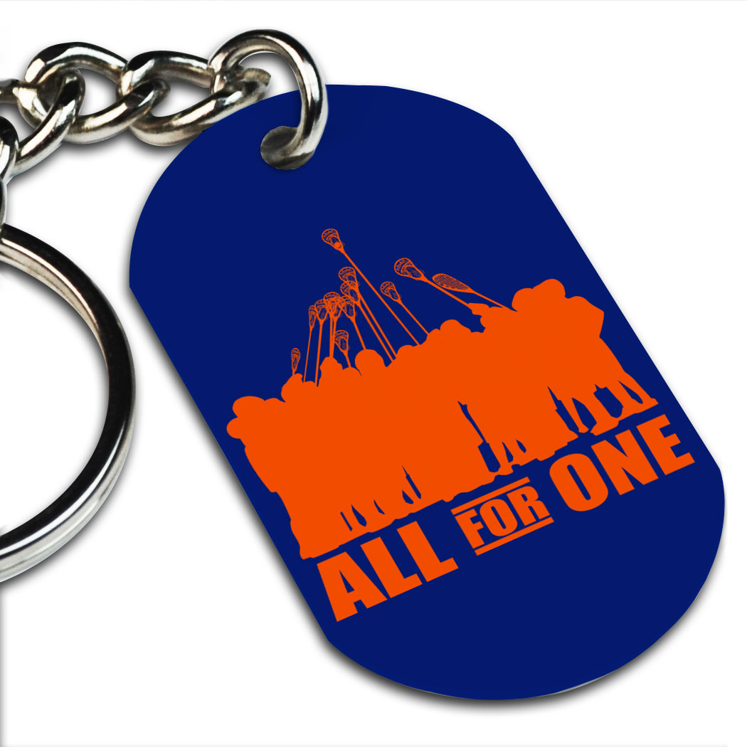 Guys Lacrosse Printed Dog Tag Keychain All For One