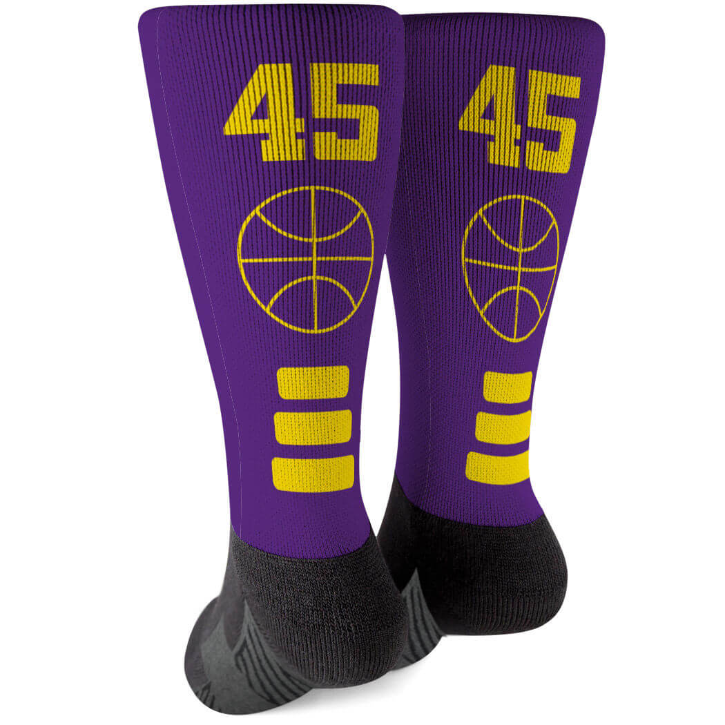 Basketball Printed Mid-Calf Socks - Team Colors - Personalization Image