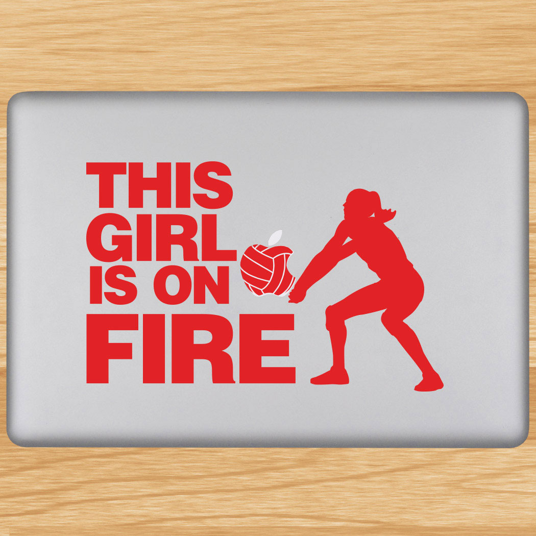 Volleyball Removable Laptop Decal This Girl Is On Fire Click to Enlarge