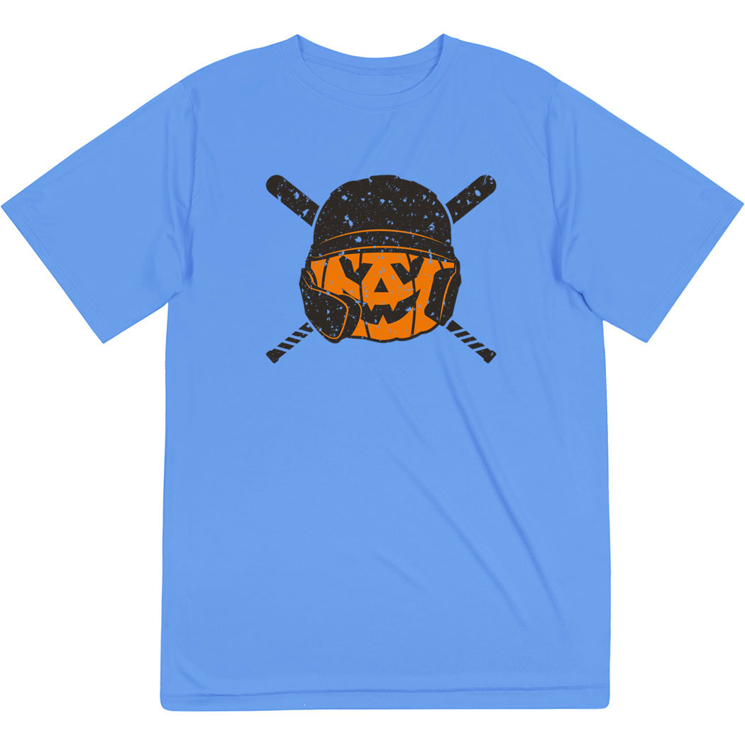 Baseball Short Sleeve Performance Tee - Helmet Pumpkin